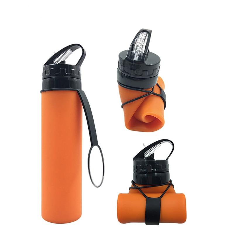 Botella de agua plegable creativa a la moda, botella de agua portátil a prueba de fugas, para interiores, viajes, senderismo, oficina, camping, tetera, Chico, deporte, 600ML