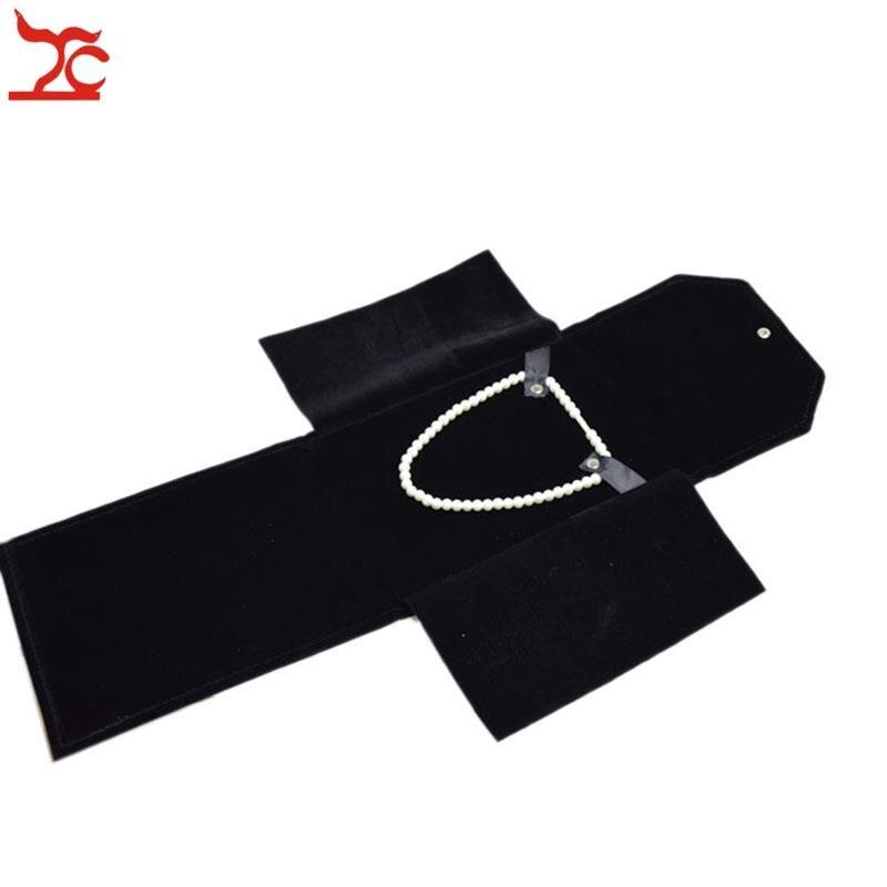 Черное бархатное складное ожерелье держатель для путешествий кулон чехол для хранения личные ювелирные изделия в форме груши для хранения ...