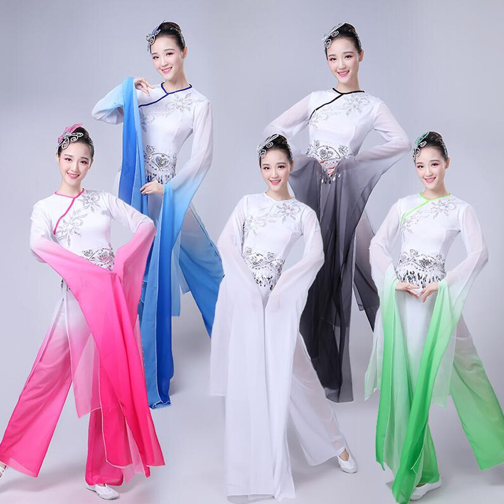 أزياء الرقص الشعبي الصيني للنساء ، ملابس أداء بأكمام طويلة ، ملابس رقص اليانغكو