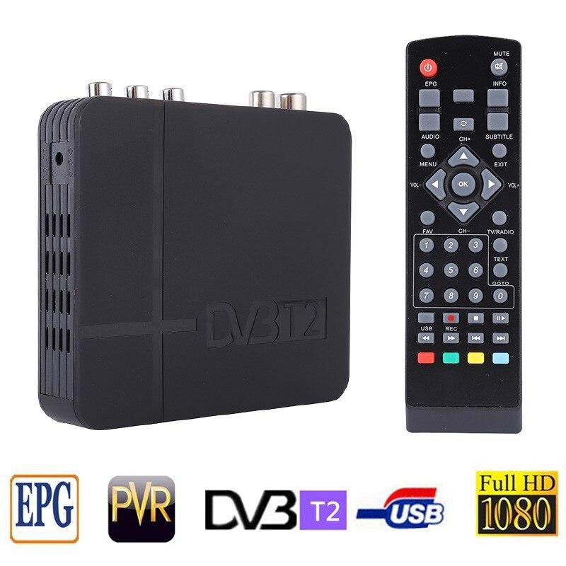Sintonizador DVB T2 MPEG4 DVB-T2 HD decodificador receptor de TV con RCA/HDMI PAL/NTSC Conversión de caja Compatible Rusia/EUROPA/THAIL