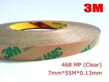 Ruban de transfert adhésif deux côtés   3M, 7mm * 55M * 0.13mm Original, 200MP, 468 MP, bande de transfert adhésive claire pour joint en mousse, affichage de plaques de noms pour appareils électriques