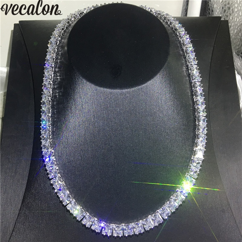 Promo Vecalon Tennis Necklace White Gold Filled Full Princess cut 7mm AAAA cz Party Wedding necklaces for Women men Hiphop Jewelry