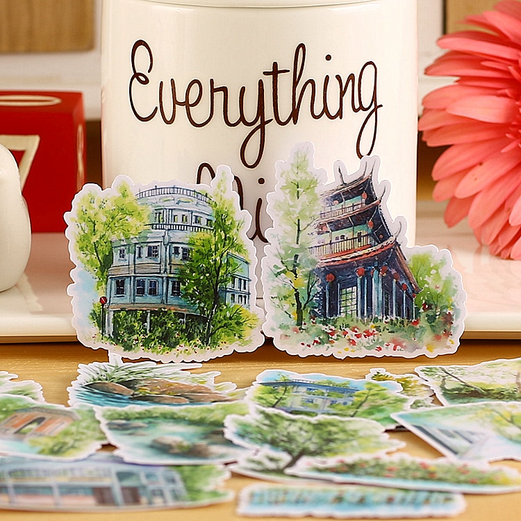 20pcs Kawaii creative cute self-made Country town / building scrapbooking stickers /decorative sticker /DIY craft photo albums