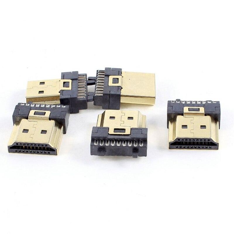 5 uds. HDMI macho 19 pines tipo A, reemplazo de reparación de la terminación del enchufe de soldadura