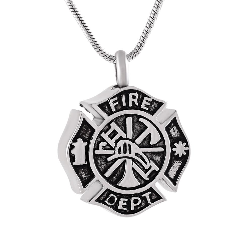 IJD9854 bombero de acero inoxidable redondo cremación Neeksake colgante para cenizas urna Souvenir collares Departamento joyería