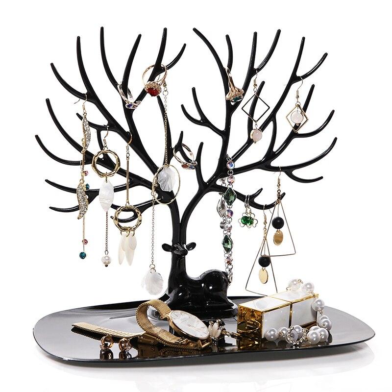 ANFEI маленький олень серьги ожерелье кольцо ювелирные браслеты и кулоны Дисплей Стенд лоток дерево хранения стойки Органайзер держатель H39