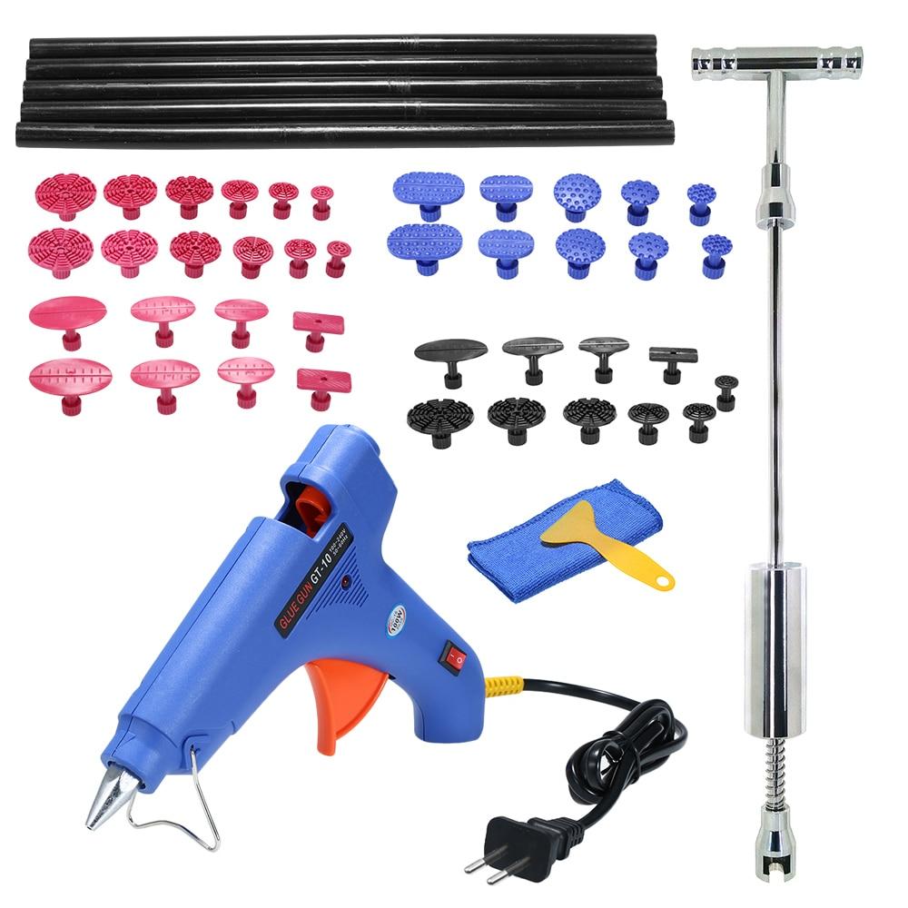 Reparação de automóveis carro dent removedor Extrator Martelo Deslizante Paintless Dent Repair Removal Hail Cola Arma Ferramentas Kit Conjunto Completo