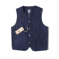 bob dong wabash indigo dot railroad vest vintage mens striped work jacket new