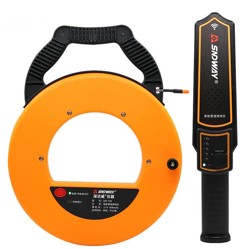 جهاز SNDWAY 20-40 متر لقياس السماكة في الأنابيب أداة قياس الانسداد في الأنابيب مع منع الانسداد أداة قياس عرض السباكين