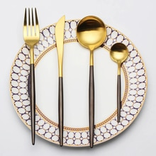 4pcs/set Set Stainless Steel Noble Fork Knife Dessert Dinnerware Gold Black Cutlery for Couverts De Table kitchen dining bar Tableware посуда нож столовые приборы набор посуды flatware