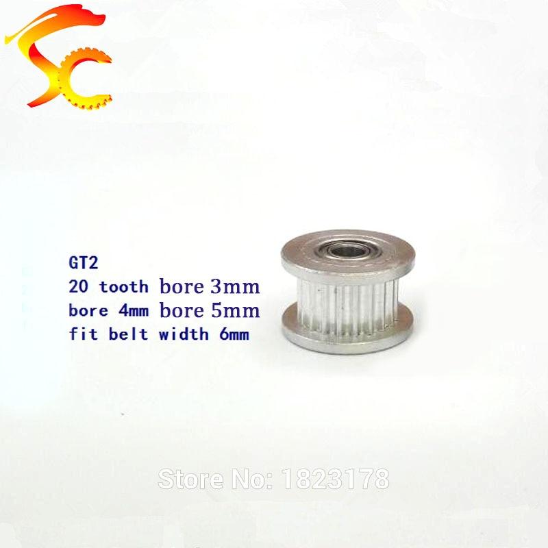1pcs/lot 3D Printer GT2 20 teeth pulley wheel Perlin passive idler pulley wheel bore 3mm/4mm/5mm for belt width 6mm (with teeth)