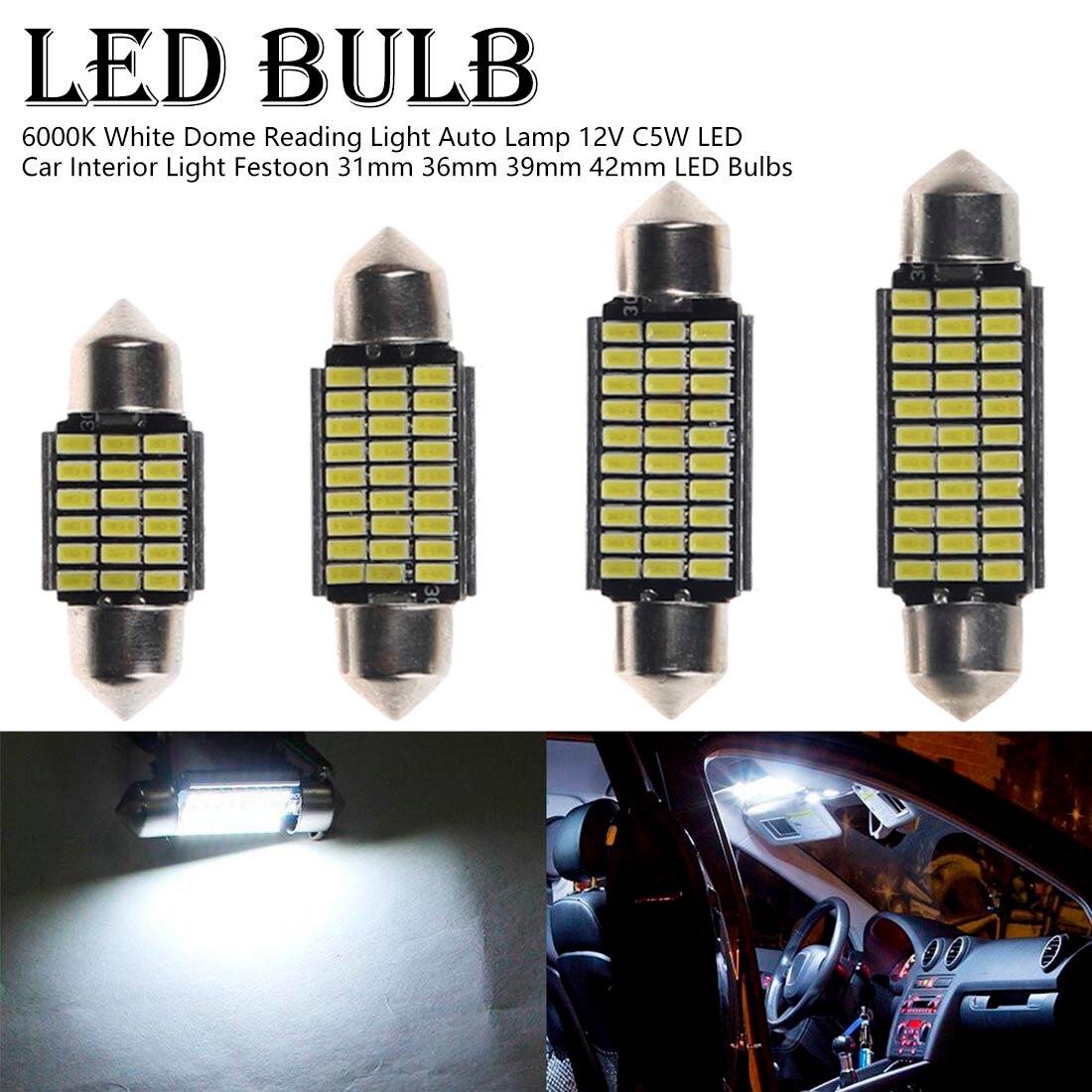 1 Uds C5W LED Interior del coche luz Canbus adorno 31mm 36mm 39mm 42mm bombillas LED 6000K blanco luz de techo de lectura de la lámpara 12V/24V