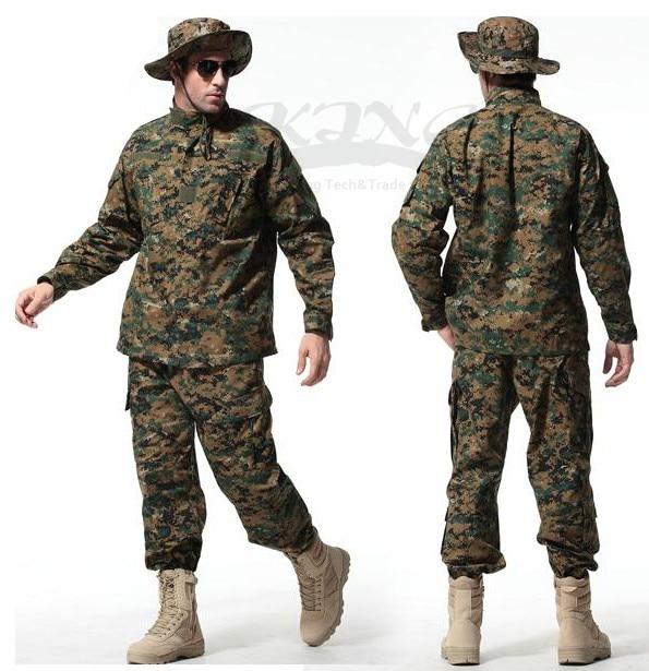 2017 männer Top Qualität Tactical Airsoft Uniform Woodland Digitalen Camo Anzug Kampf Jagd Kleidung Satz Training Uniform