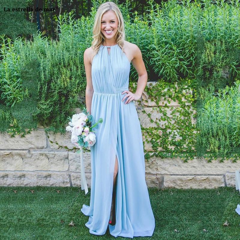 Vestidos de dama de honor de gasa azul hechos a medida, con...