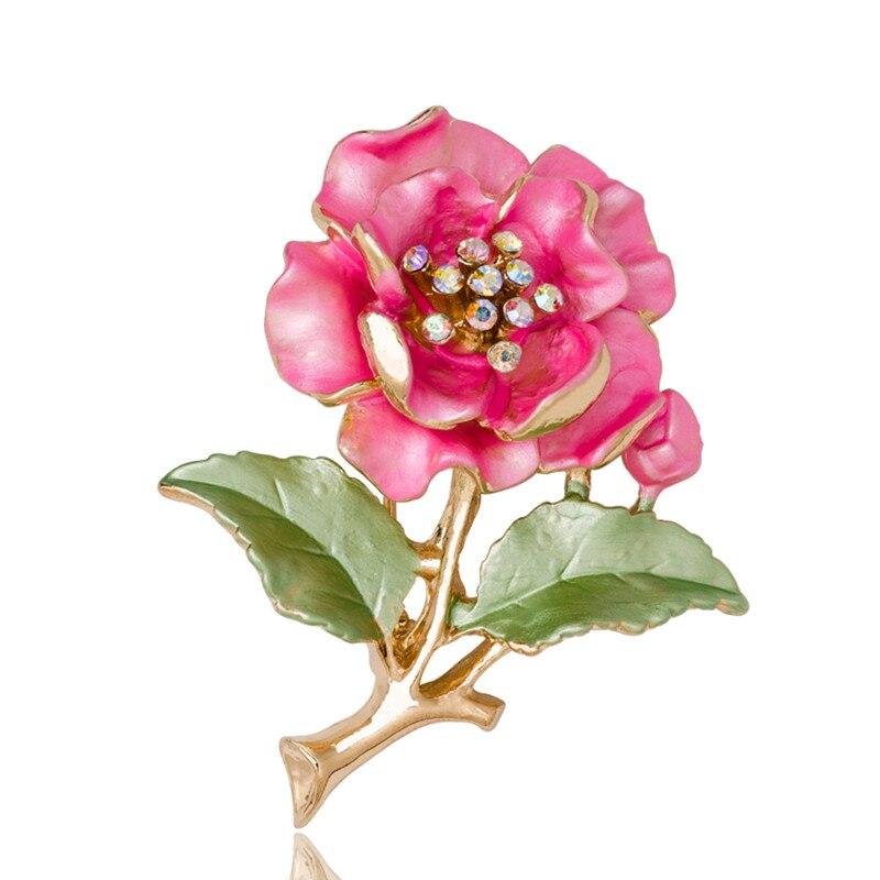 Broches bonitos para mujer, broche de flores de cristal de imitación para vestido de boda con diamantes, Broches de hojas de Metal para mujer