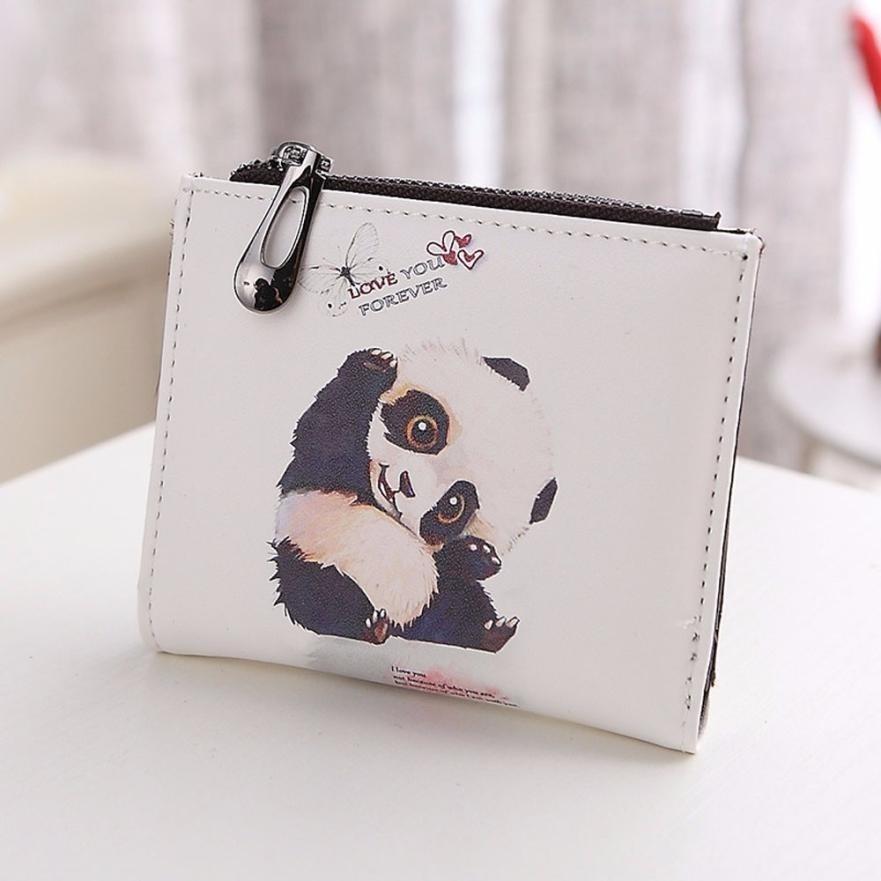 Nova tendência dos desenhos animados elefante/panda/menina carteira marca projetado curto carteira com zíper feminino bolsa titular do cartão carteira 40