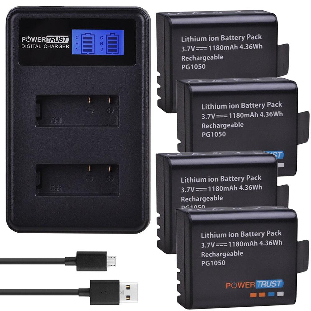 4x PG1050 1180mAh baterías + LCD cargador de batería con USB doble para SJCAM SJ4000 M10 SJ5000 SJ5000X para EKEN H9 H9R H8R H8 GIT PG900