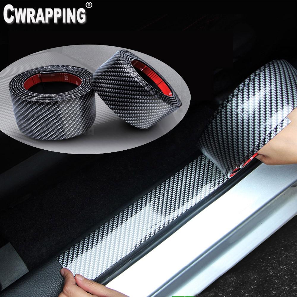 Auto Styling 5D Carbon Faser Vinyl Auto Tür Rand Einstiegsleisten Pedal Schutz DIY Abziehbilder Tragen-beständig Anti- collsion