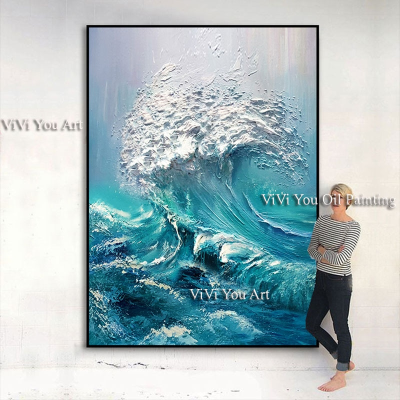 Large size Handpainted WALL Painting waves sea ocean stock wall art canvas Oil Painting for living room and bedroom Wall Picture