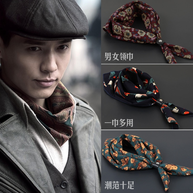 New Fashion Men Cravat Hanky 60cm*60cm Ascot tie Useful Hankerchief British Style Floral Winter Warm