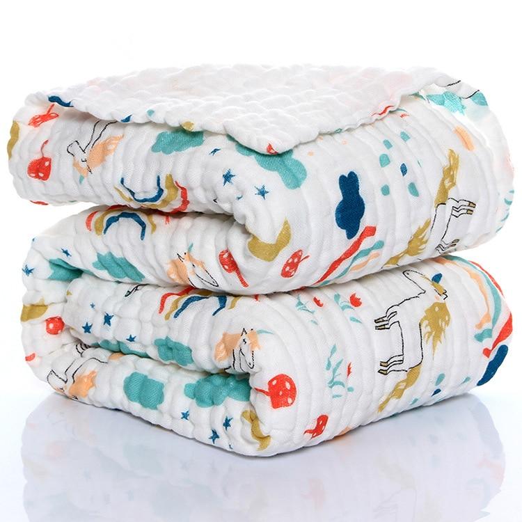 6 Layers cotton unicorn muslin blanket baby swaddle baby summer blanket stroller cover Bath Towel baby receiving blanket