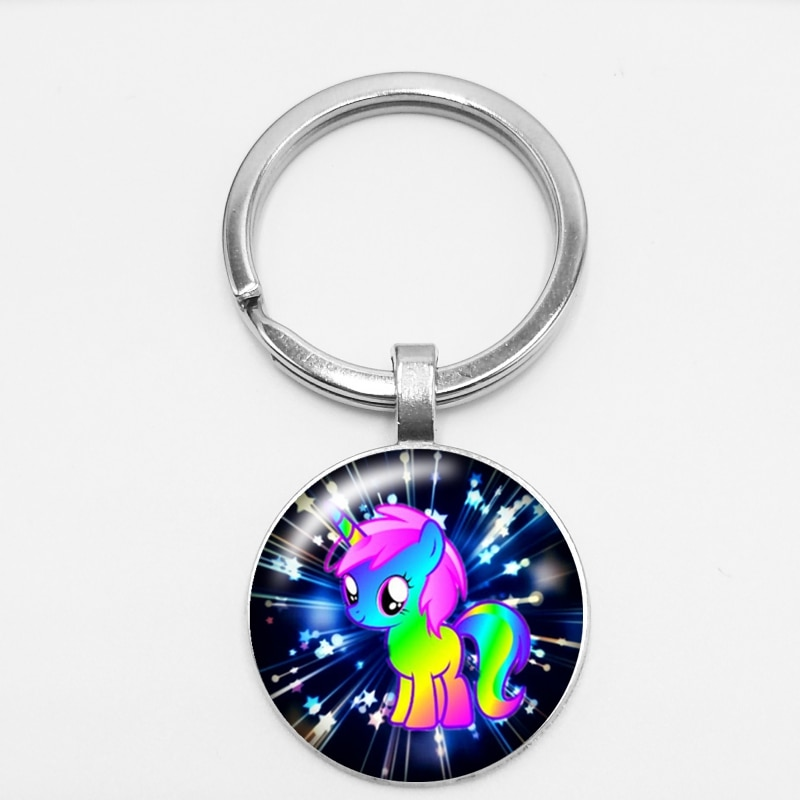 25mm Fashion Handmade Key Chain Cartoon Unicorn Gift Convex Magic High Quality Car Key Ring Hang Buckle Jewelry