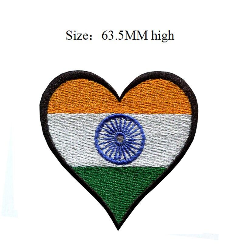 63,5 MM alta India bandera Parche de corazón parches personalizados/personalizado equipo universitario chaquetas/Conjuntos de feltro
