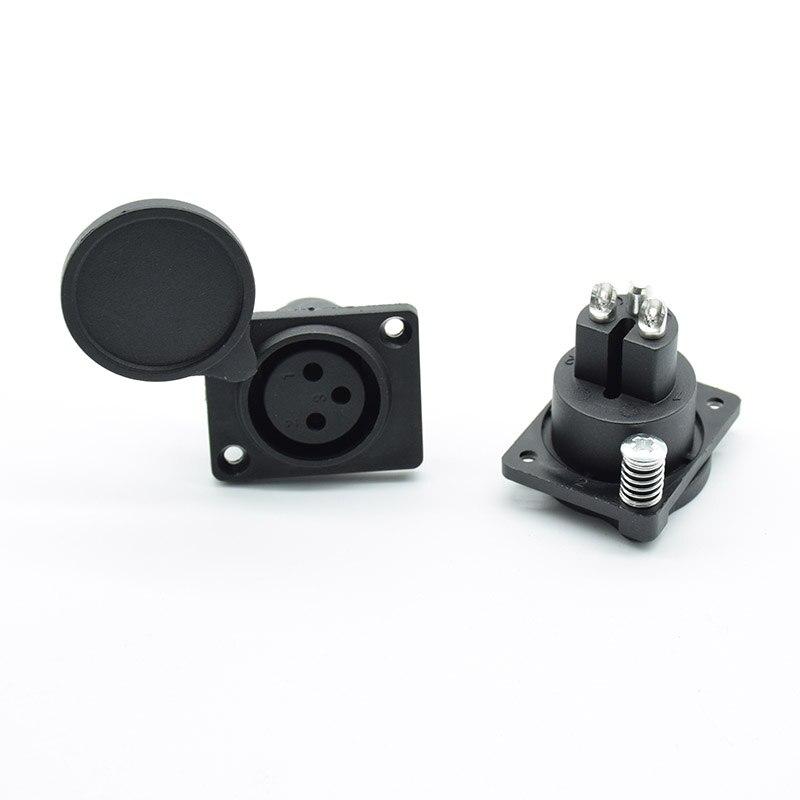1 Pc 3 Pin XLR Fêmea Chassis Painel À Prova D Água Montado Soquete Adaptador de Conector De Solda para Poder MIC Preto