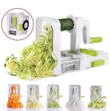Coupe-spirale à 5 lames   Trancheur de légumes pliable pour pâtes et Spaghetti pommes de terre et légumes coupe-courgettes