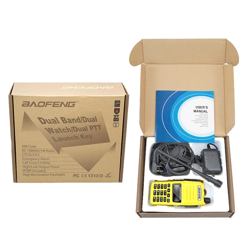 Hot Sell Yellow Baofeng UV-82 5W Portable Radio Walkie Talkie Double PTT Button Vhf Uhf Dual Band Baofeng UV 82 with Headset enlarge
