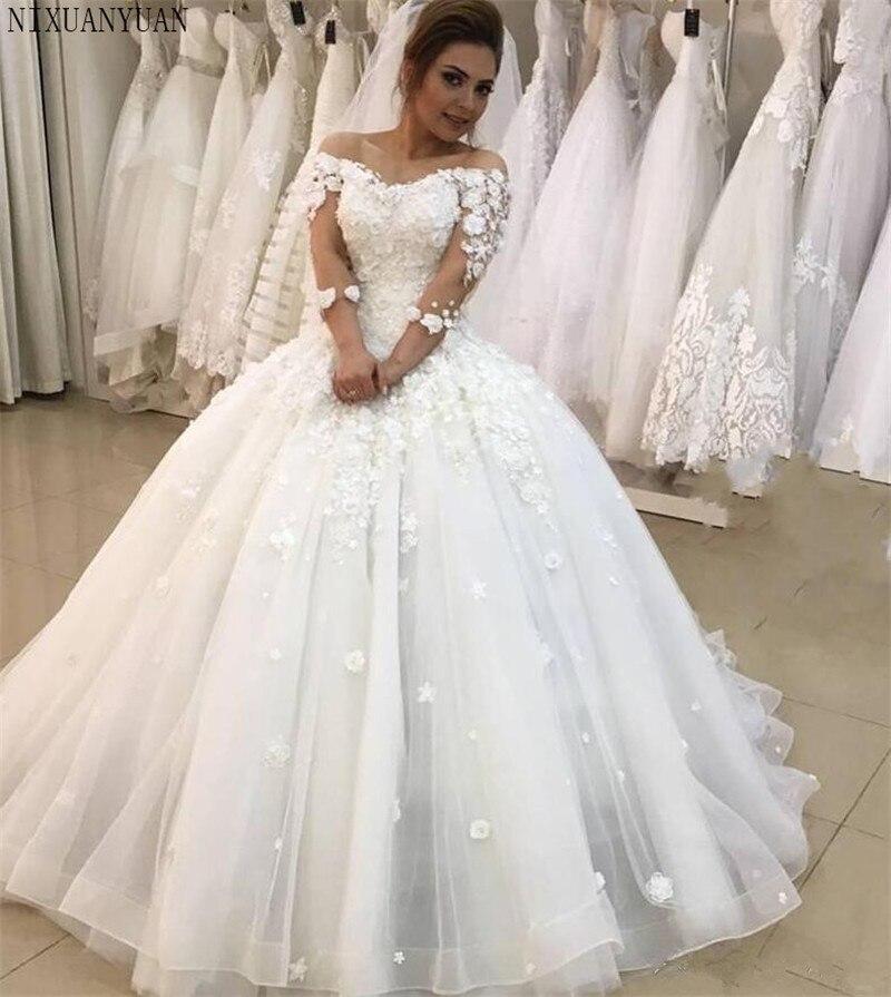 La Princesa apliques bola Vestido boda vestidos 2021 3/4 mangas De talla...