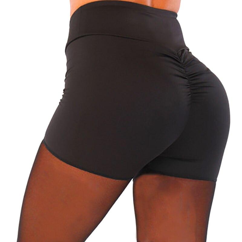Pantalones cortos elásticos de Spandex para mujer de verano del 2019, de cintura alta, de Color sólido, con pliegues y tres pantalones cortos ajustados para correr, M/L/XL/2XL/3XL
