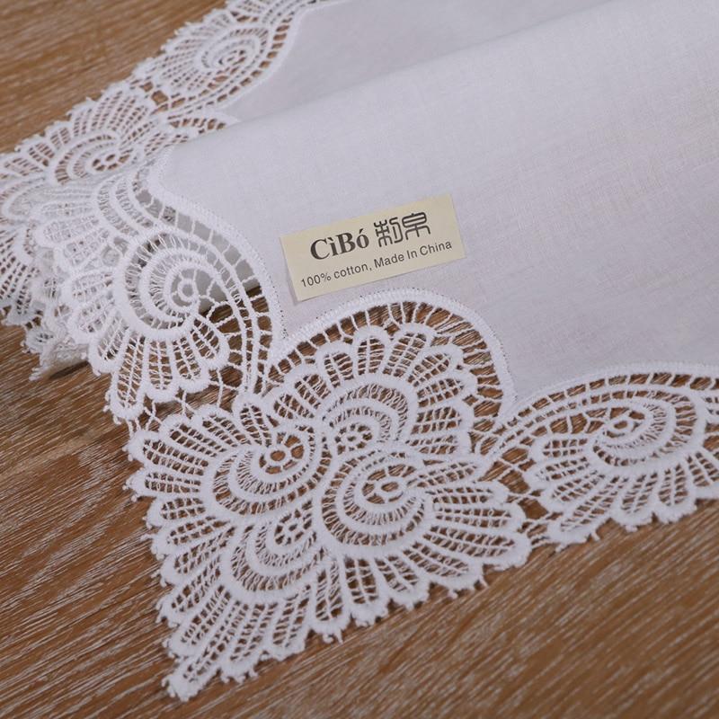 A003: White premium cotton lace handkerchiefs  crochet hankies for women/ladies wedding gift