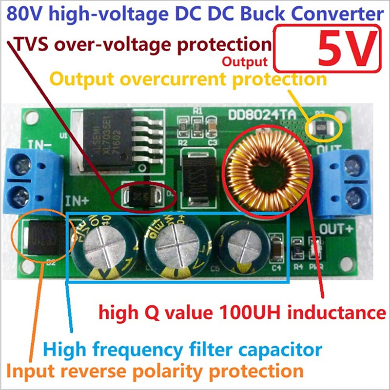 Convertidor de 24-80v a 3,3 v-15v CC de Ebike, módulo regulador de reducción ajustable, módulo de fuente de alimentación, controlador LED para piezas de herramientas