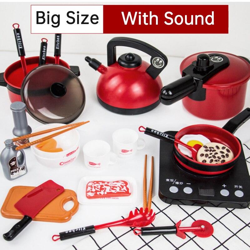 Nuevo juego de 7 tipos 1 horno de microondas para niños, juguete de cocina para bebés, hervidor eléctrico con simulación de luz, pequeños electrodomésticos, juguete de cocina