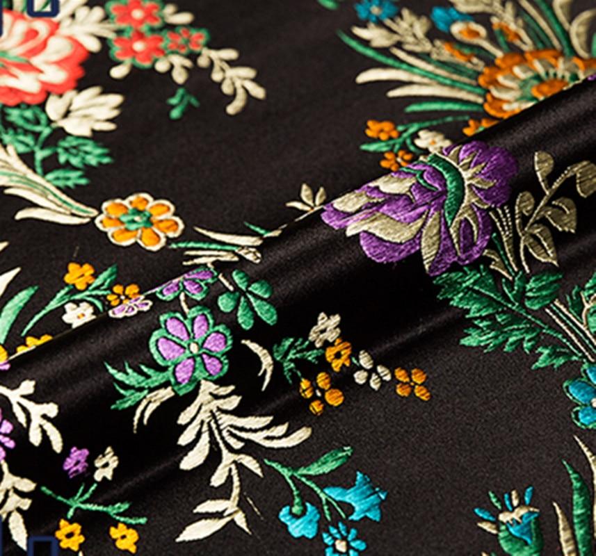 Negro tejido de brocado floral Damasco Jacquard ropa traje tapicería decoración manualidades patchwork cojín tela 75CM * 50CM