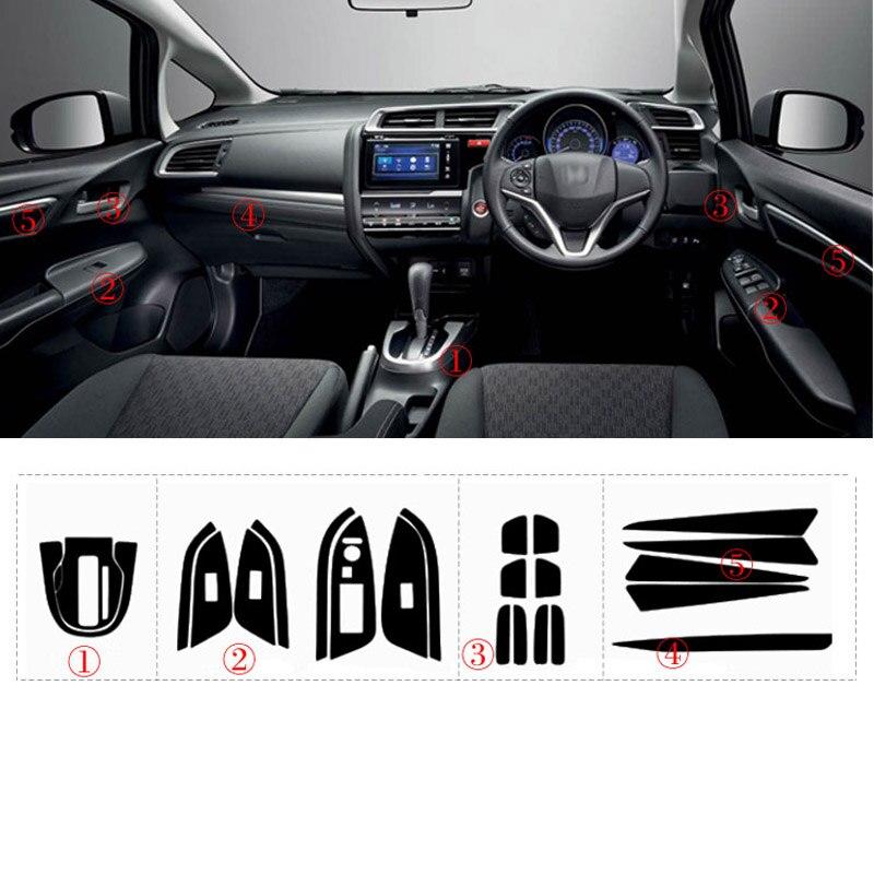 Стайлинг автомобиля 3D углеродное волокно Автомобильный интерьер центральная консоль изменение цвета молдинг наклейки для RHD Honda Fit 2014-2017