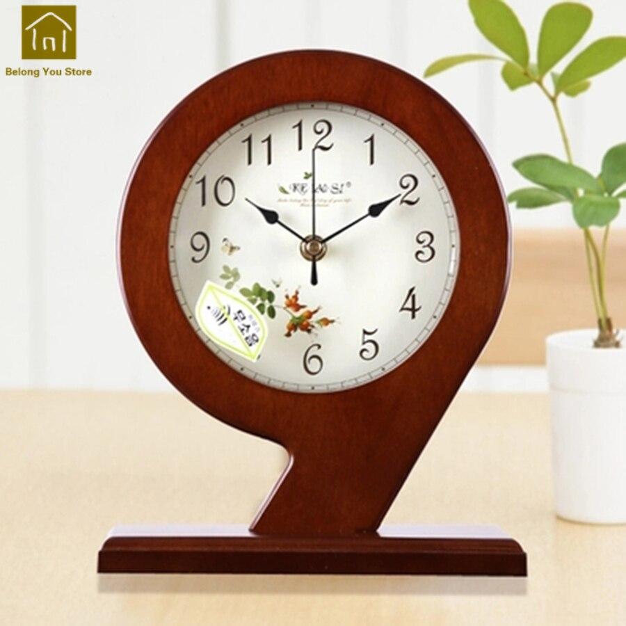 Reloj De estilo europeo para casa De madera, creativos relojes con soporte para escritorio, reloj De cuarzo, reloj De Mesa, decoración para casa WKJ015