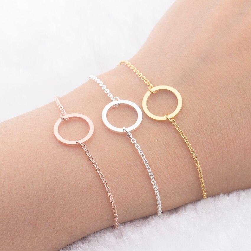 Браслеты вечности дружбы для мужчин и женщин Геометрическая Карма круглый круг ювелирные изделия лучший друг подарки розовое золото браслет Homme Bijoux