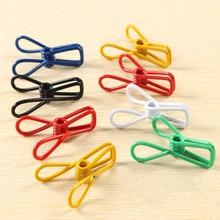 10pcs Color Iron Clothespin Socks Underwear Pants Closet Storage Rack Non-Slip Windproof Folder Art Decorate Clip