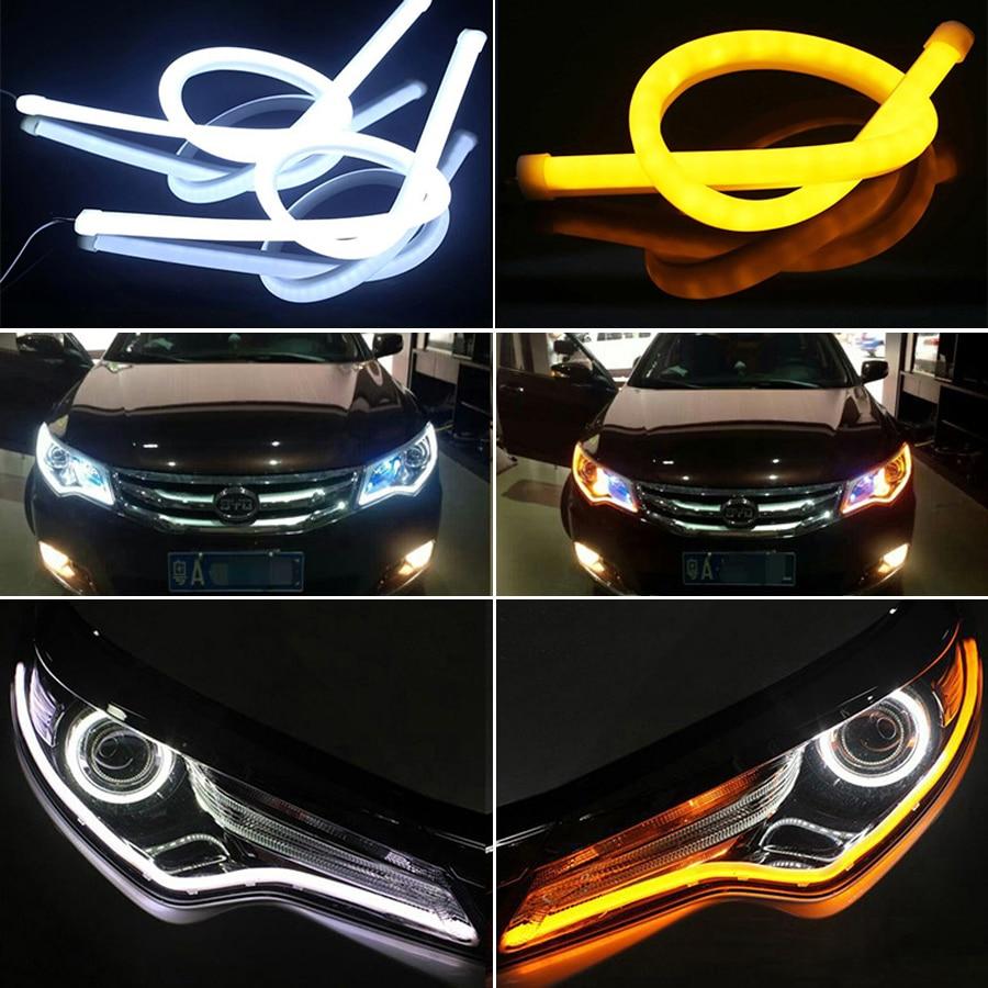 Meetrock 2 unids 60 cm silicagel luz corriente diurna del led auto DRL LED señales de giro externo 12 V SMD COB car-styling