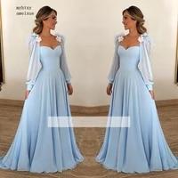 sky blue muslim evening dresses 2020 sexy sweetheart long sleeves chiffon islamic dubai saudi arabic long evening gown prom