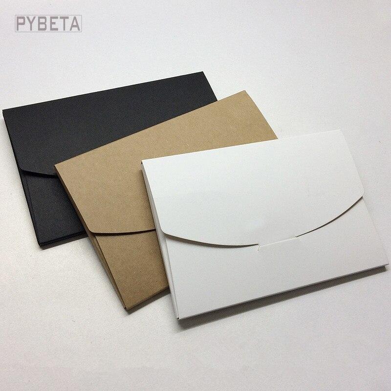 """50 unids/lote-16*10,5*0,5 cm (6,2 """"* 4,1"""" * 0,2 """") en blanco negro blanco papel Kraft sobres postales tarjeta de felicitación cubierta foto embalaje"""