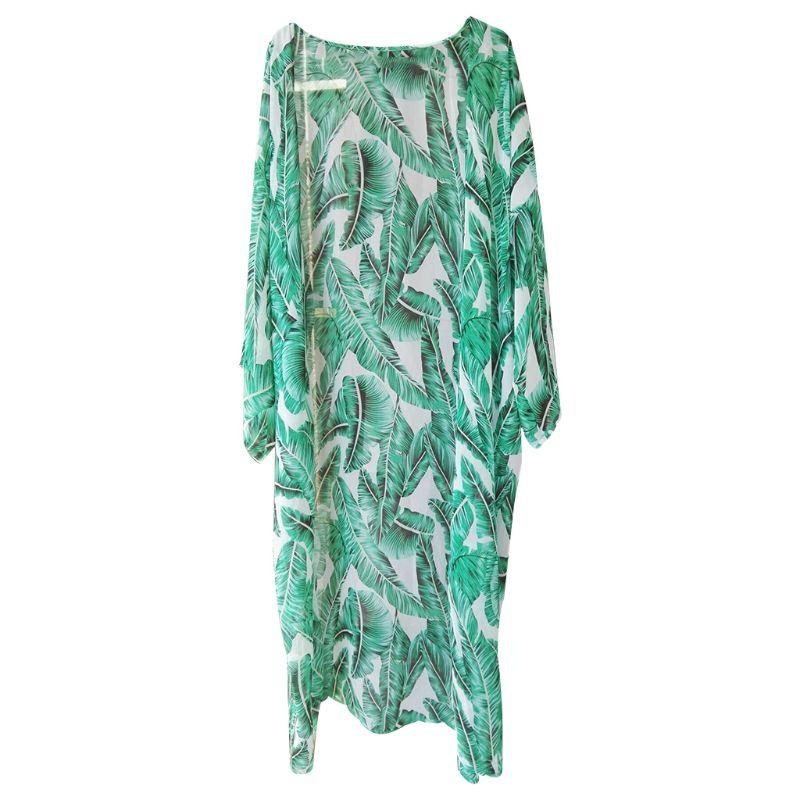 Mujeres verano gasa Semi-Sheer Maxi Kimono Cardigan Top verde Tropical Banana hojas impreso Bikini cubrir hasta 3/4 mangas abierto