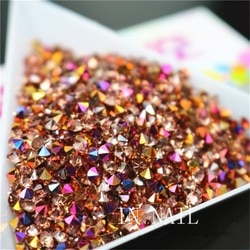 1440 pçs arco-íris 2.00mm rosa ouro prego strass zircon arte do prego micro cristal mini cônico manicure decorações