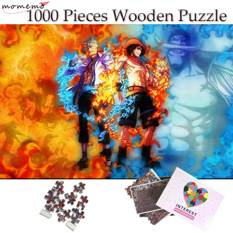 MOMEMO Burning Man Marco Ace Jigsaw Puzzles 1000 Pieces One Piece Anime Wooden Puzzle for Adults Teenagers Children Toys