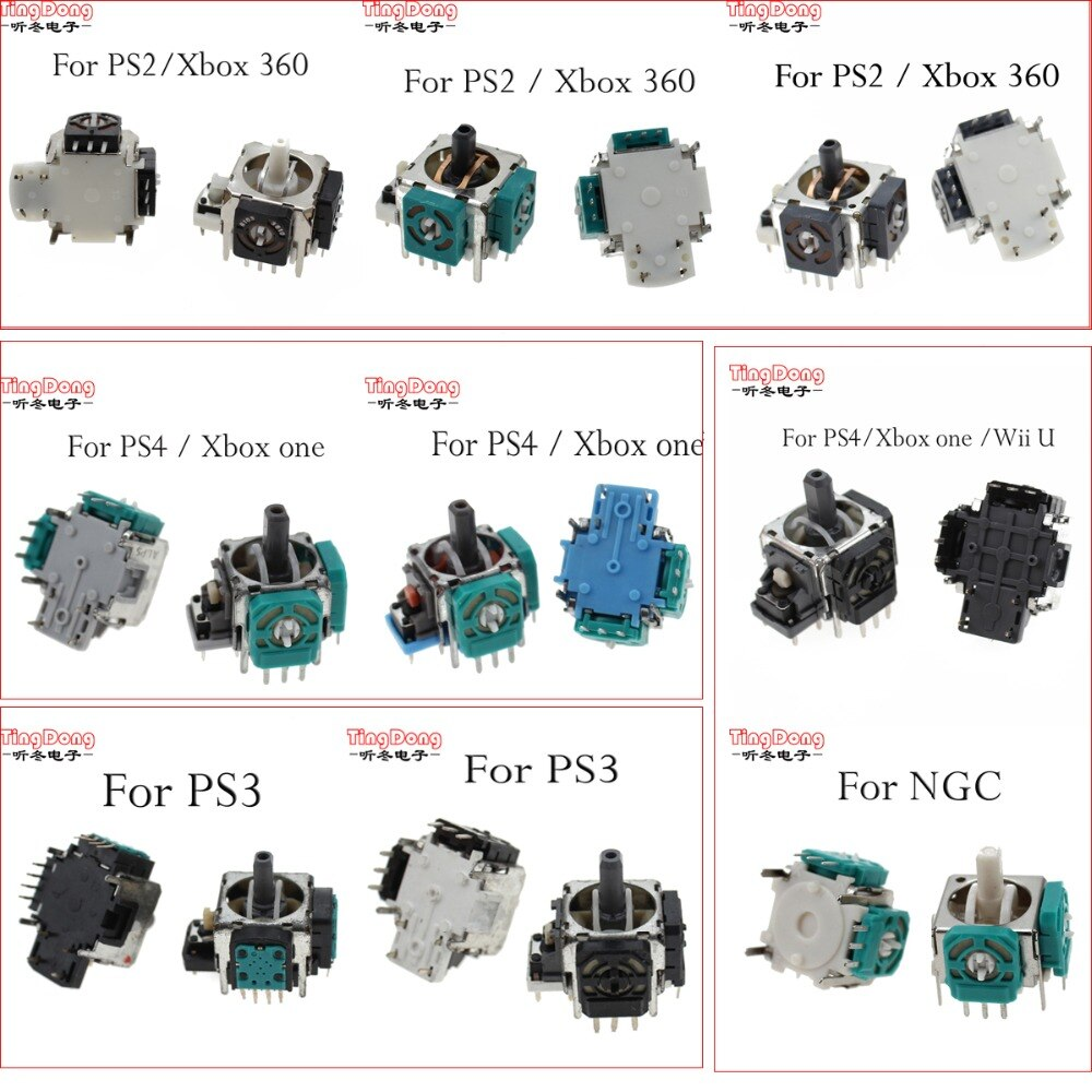 TingDong  3pin 4PIN  Replacement 3D joystick analog Thumb sticks for PS3 PS4 XBOX360 PS2 for Xbox one controller Gamepad