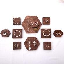 Brown Solid Wood Jewelry Display Blocks Jewelry Display Stand Earrings,Pendant, Bracelets, Ring Display Riser