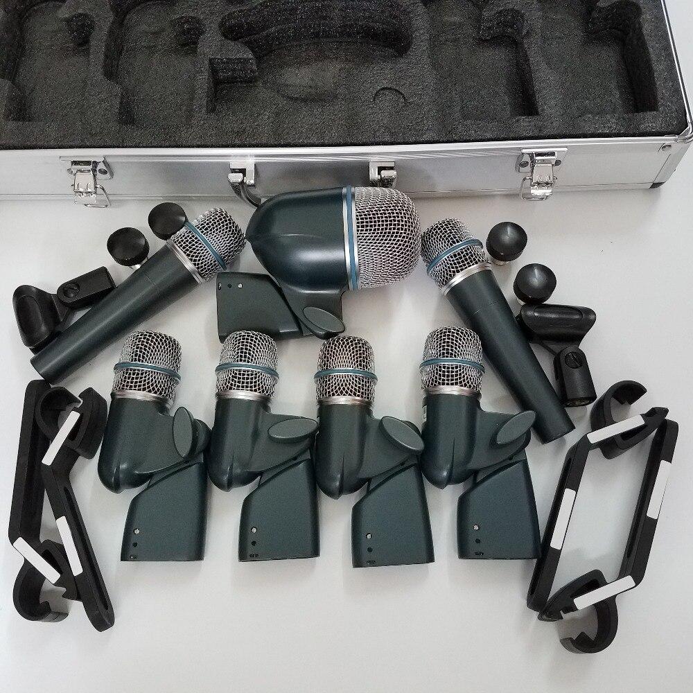 7-pieza micrófono de batería rophone micrófono Kit (con) 1x 52A... 4x 56A... 2x 57a condensador micrófono instrumento micrófono de batería Kit de dmk7