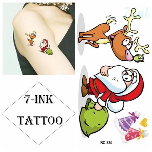 Water Transfer fake tattoo cute elk deer Santa Claus  Waterproof Temporary tattoo for woman man kids 10.5*6 cm